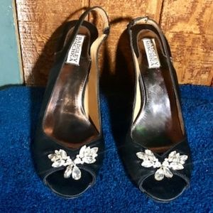 Badgley Mischka Black Satin Peep Toes w/Rhinestone